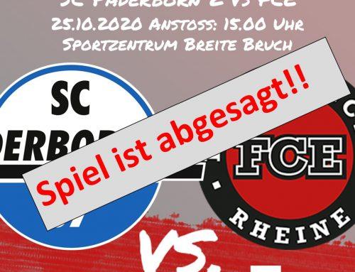 Partie Paderborn 07 II. gegen FC Eintracht Rheine fällt aus!!!
